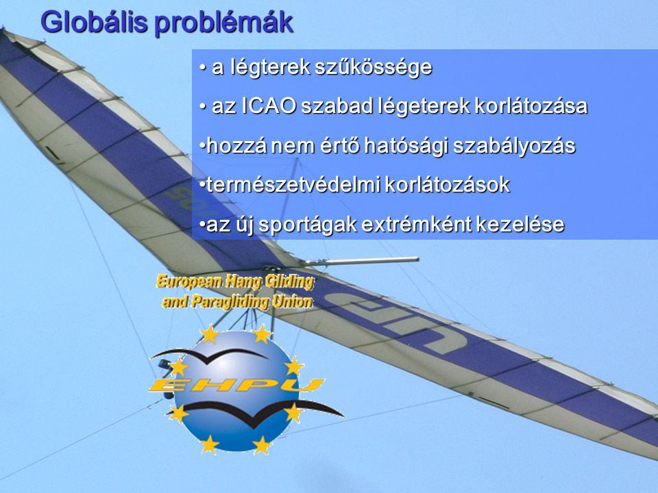 A szabad repülés európai felfogása Nem a légiközlekedési hatóságok szabályoznakNem a légiközlekedési hatóságok szabályoznak A szakmai hatáskört hozzáértő szakmai szervezetek kapják meg (DHV, SHV, BHPA, FFVL, FIVL, SFFA, stb).A szakmai hatáskört hozzáértő szakmai szervezetek kapják meg (DHV, SHV, BHPA, FFVL, FIVL, SFFA, stb).