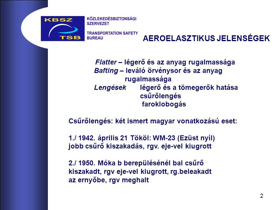 2 Flatter – légerő és az anyag rugalmassága Bafting – leváló örvénysor és az anyag rugalmassága Lengések légerő és a tömegerők hatása csűrőlengés faroklobogás Csűrőlengés: két ismert magyar vonatkozású eset: 1./ 1942.