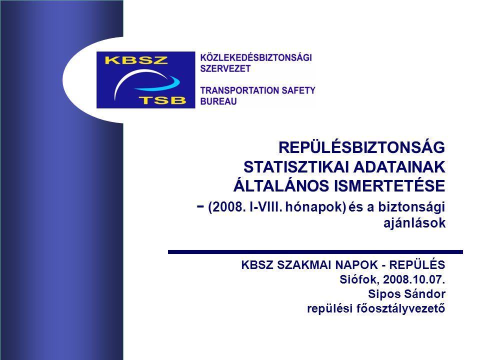 REPÜLÉSBIZTONSÁG STATISZTIKAI ADATAINAK ÁLTALÁNOS ISMERTETÉSE − (2008.