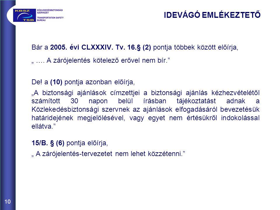10 IDEVÁGÓ EMLÉKEZTETŐ Bár a 2005. évi CLXXXIV. Tv.