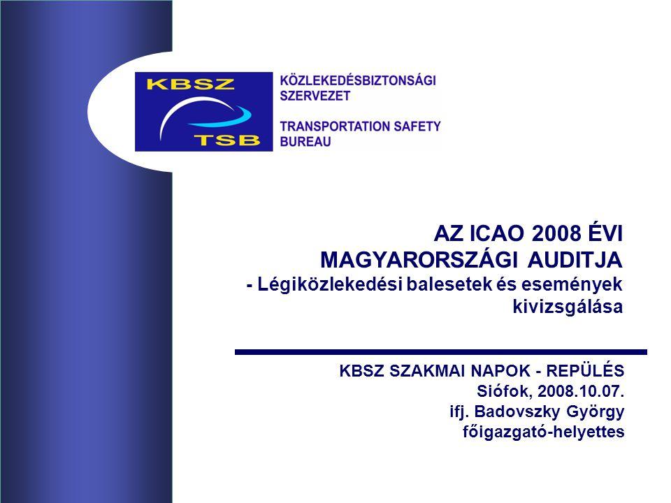 AZ ICAO 2008 ÉVI MAGYARORSZÁGI AUDITJA - Légiközlekedési balesetek és események kivizsgálása KBSZ SZAKMAI NAPOK - REPÜLÉS Siófok, 2008.10.07.