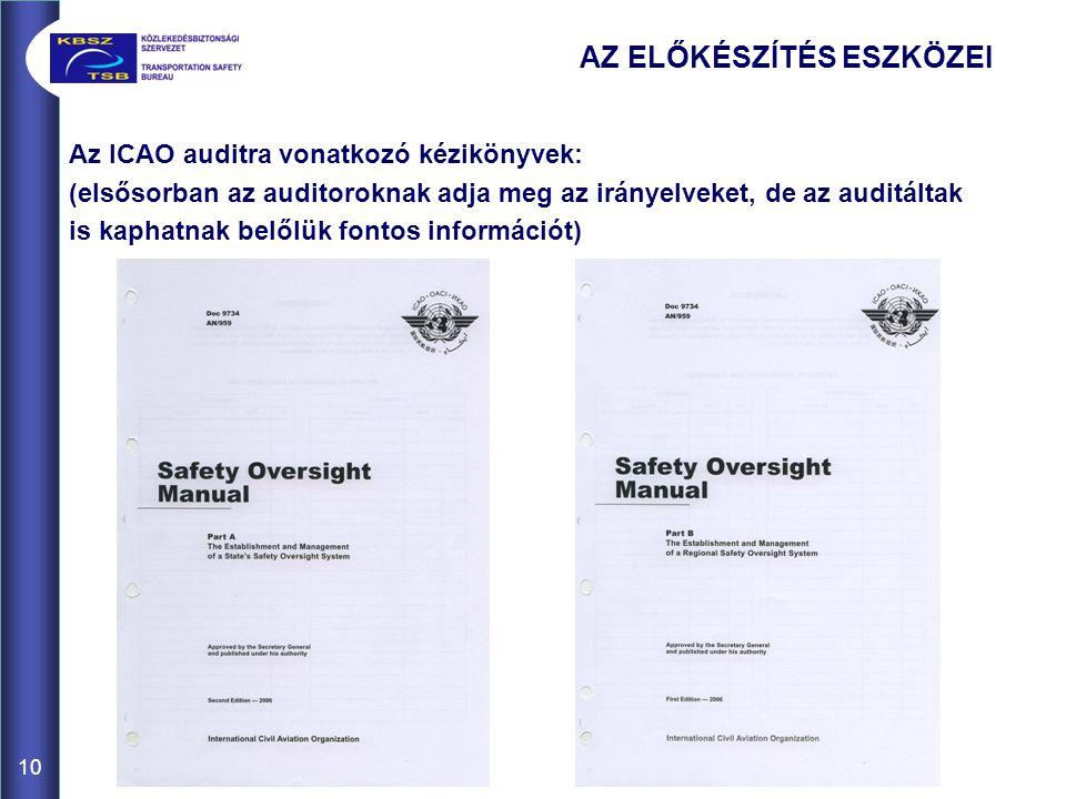 10 Az ICAO auditra vonatkozó kézikönyvek: (elsősorban az auditoroknak adja meg az irányelveket, de az auditáltak is kaphatnak belőlük fontos információt) AZ ELŐKÉSZÍTÉS ESZKÖZEI