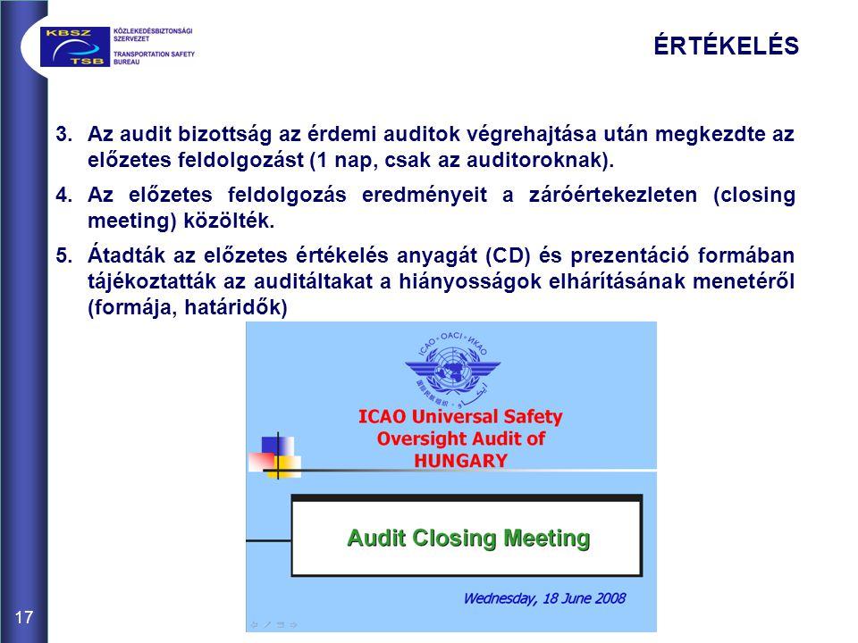 17 ÉRTÉKELÉS 3.Az audit bizottság az érdemi auditok végrehajtása után megkezdte az előzetes feldolgozást (1 nap, csak az auditoroknak).