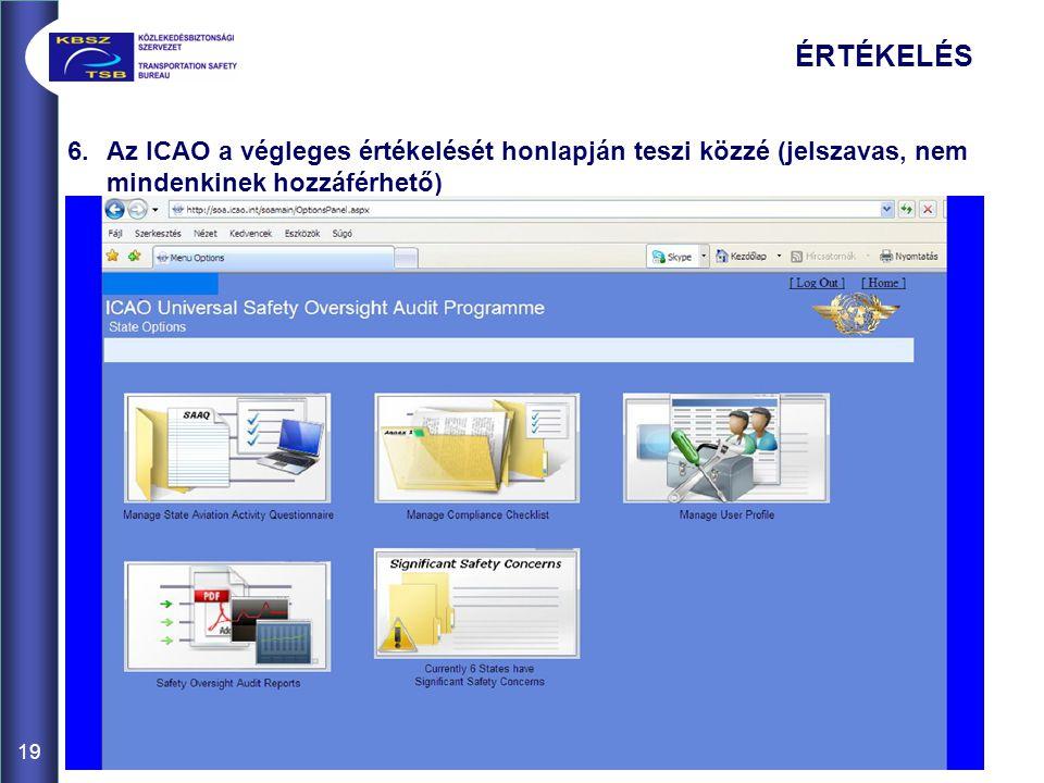 19 6.Az ICAO a végleges értékelését honlapján teszi közzé (jelszavas, nem mindenkinek hozzáférhető) ÉRTÉKELÉS