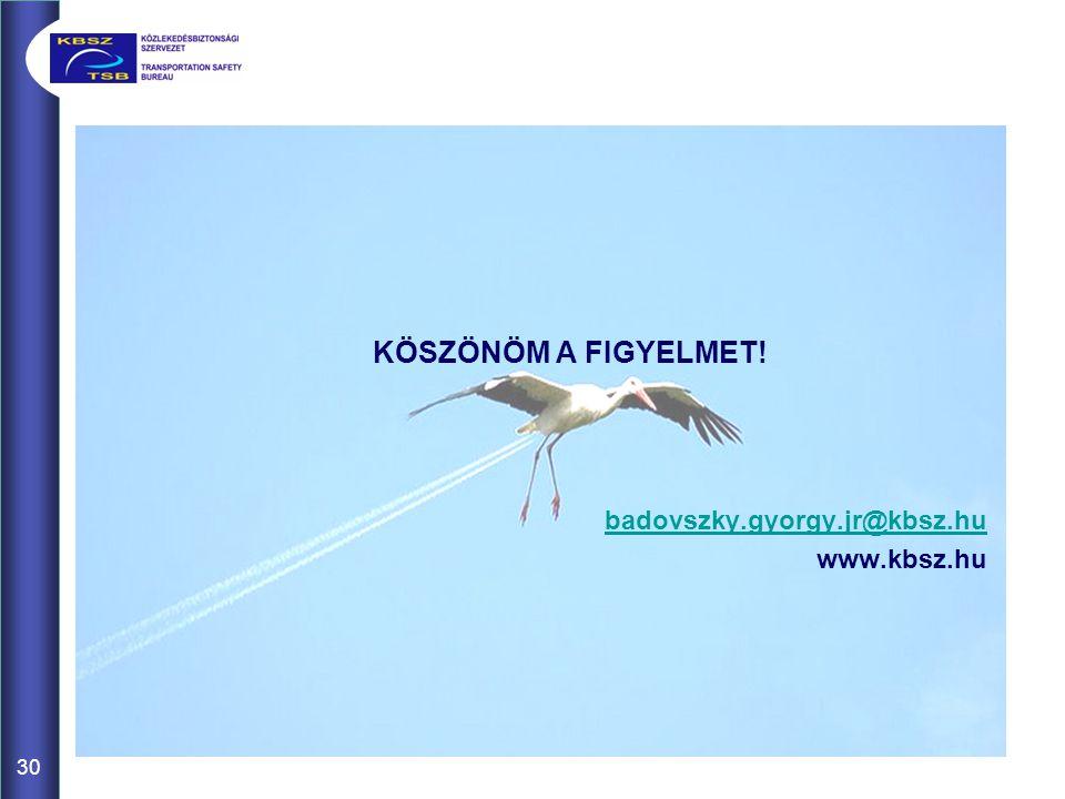 KÖSZÖNÖM A FIGYELMET! badovszky.gyorgy.jr@kbsz.hu www.kbsz.hu 30