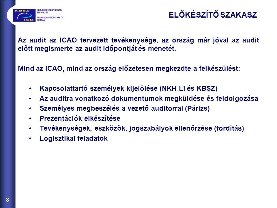 8 Az audit az ICAO tervezett tevékenysége, az ország már jóval az audit előtt megismerte az audit időpontját és menetét.
