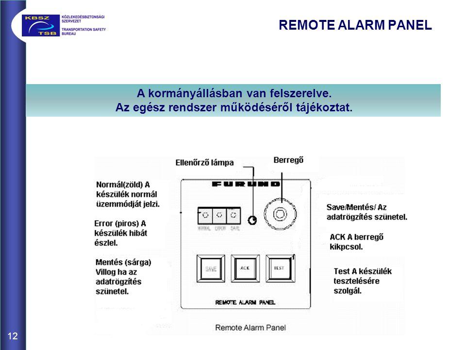 REMOTE ALARM PANEL 12 A kormányállásban van felszerelve. Az egész rendszer működéséről tájékoztat.