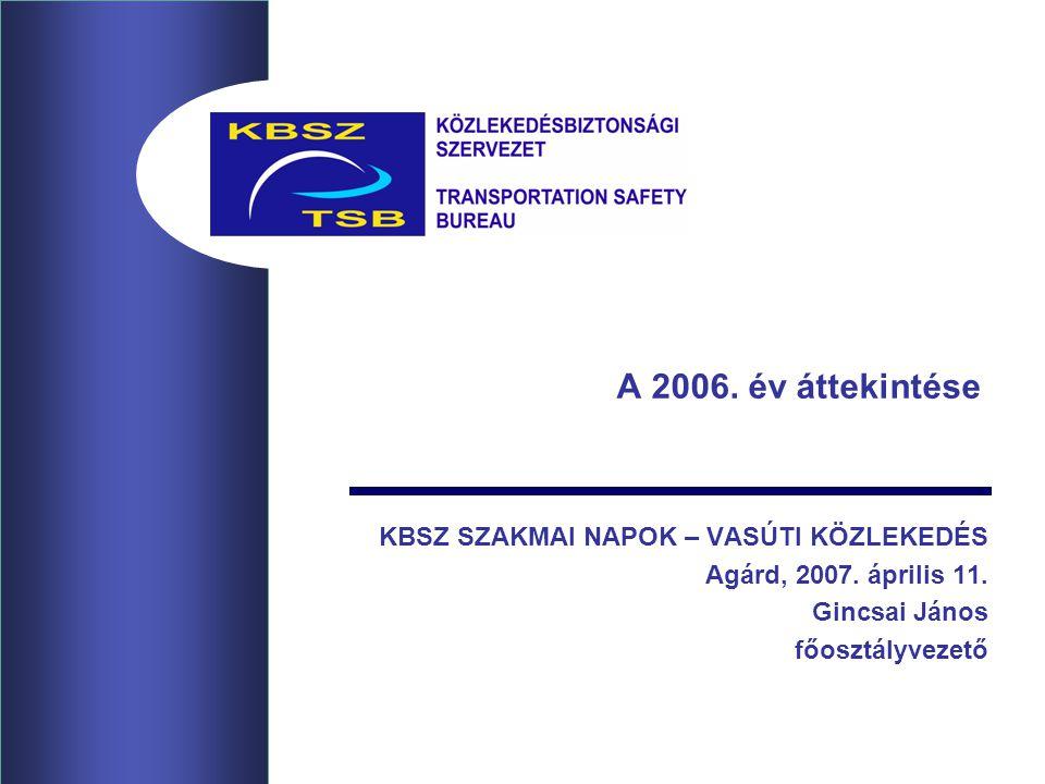 A 2006. év áttekintése KBSZ SZAKMAI NAPOK – VASÚTI KÖZLEKEDÉS Agárd, 2007.