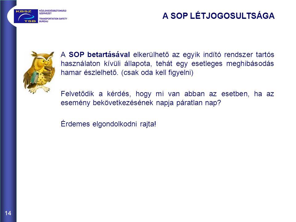A SOP betartásával elkerülhető az egyik indító rendszer tartós használaton kívüli állapota, tehát egy esetleges meghibásodás hamar észlelhető. (csak o