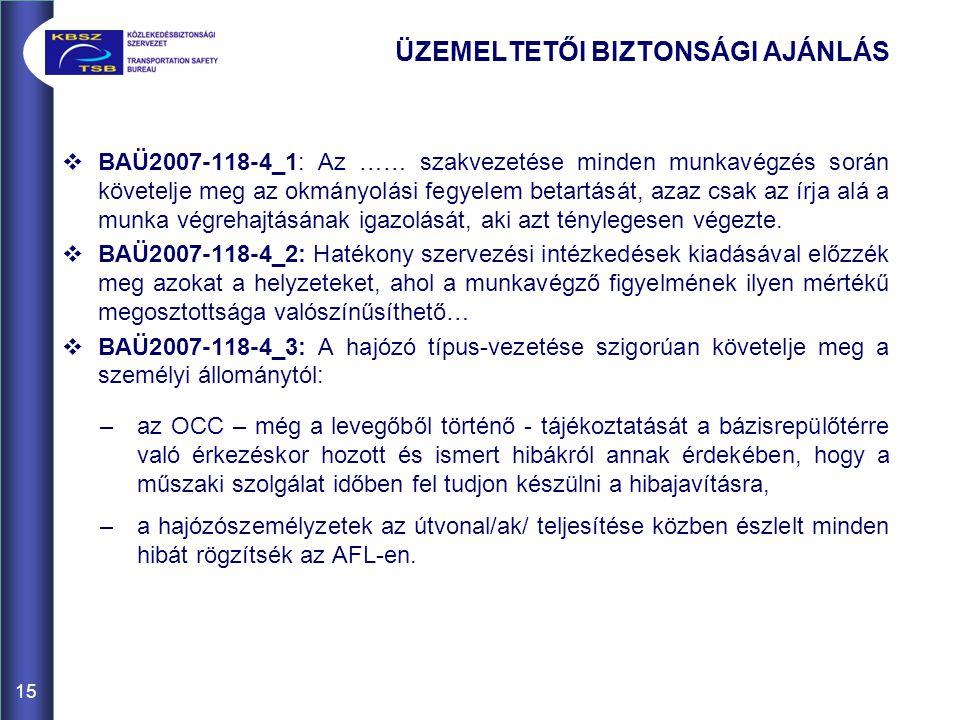ÜZEMELTETŐI BIZTONSÁGI AJÁNLÁS  BAÜ2007-118-4_1: Az …… szakvezetése minden munkavégzés során követelje meg az okmányolási fegyelem betartását, azaz c