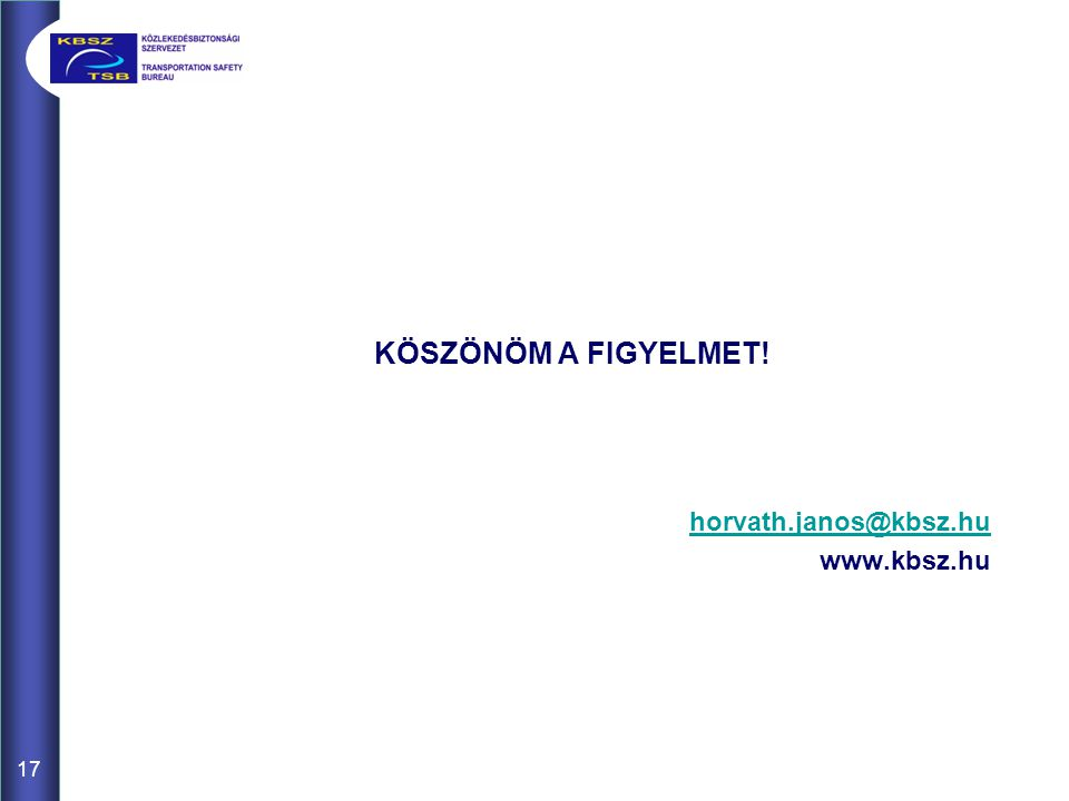 KÖSZÖNÖM A FIGYELMET! horvath.janos@kbsz.hu www.kbsz.hu 17