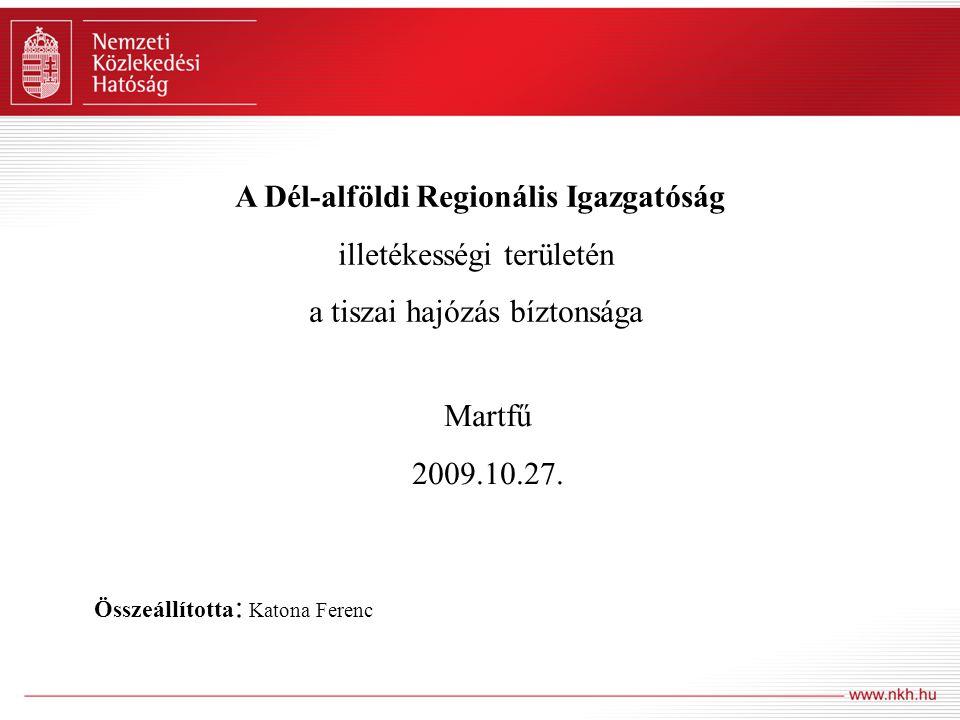 A Dél-alföldi Regionális Igazgatóság illetékességi területén a tiszai hajózás bíztonsága Martfű 2009.10.27.