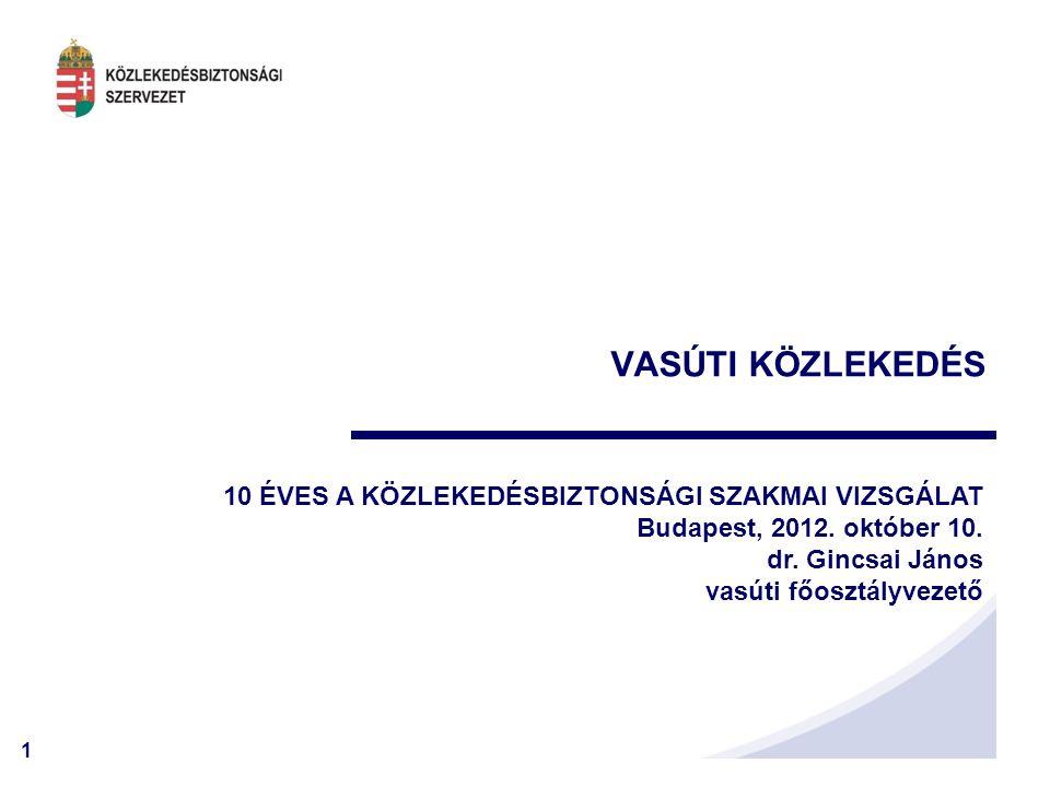 2 VASÚT – Bejelentések 2006 - 2011 Tevékenységünk kezdete a vasúti területen: 2006. március 1.
