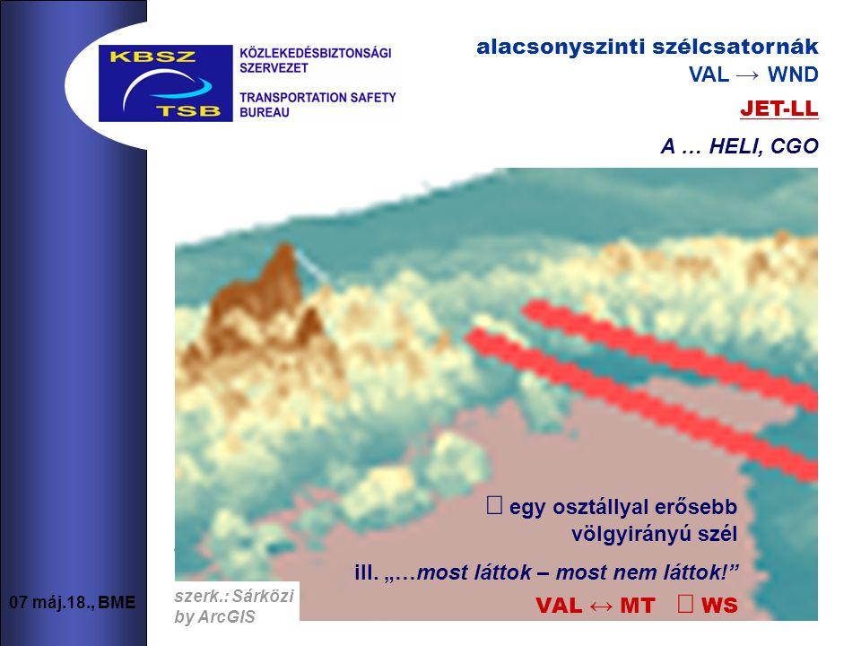7 07 máj.18., BME alacsonyszinti szélcsatornák VAL → WND  JET-LL A … HELI, CGO szerk.: Sárközi by ArcGIS alacsonyszinti szélcsatornák VAL → WND szerk.: Sárközi by ArcGIS  egy osztállyal erősebb völgyirányú szél ill.