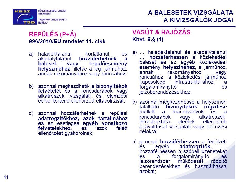 11 A BALESETEK VIZSGÁLATA A KIVIZSGÁLÓK JOGAI REPÜLÉS (P+Á) 996/2010/EU rendelet 11. cikk a)haladéktalanul, korlátlanul és akadálytalanul hozzáférhetn