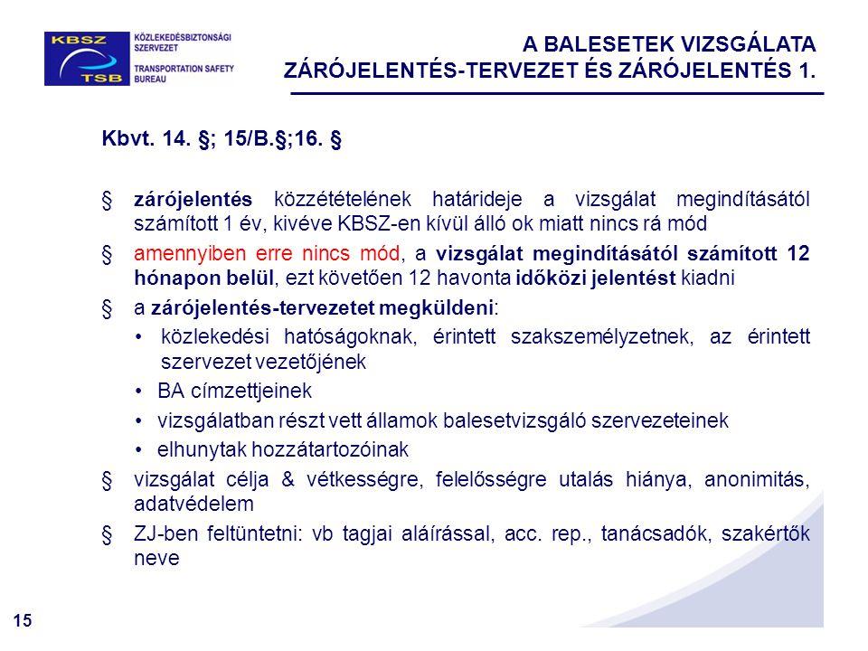 15 A BALESETEK VIZSGÁLATA ZÁRÓJELENTÉS-TERVEZET ÉS ZÁRÓJELENTÉS 1. Kbvt. 14. §; 15/B.§;16. § §zárójelentés közzétételének határideje a vizsgálat megin