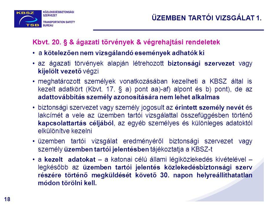 18 Kbvt. 20. § & ágazati törvények & végrehajtási rendeletek a kötelezően nem vizsgálandó események adhatók ki az ágazati törvények alapján létrehozot