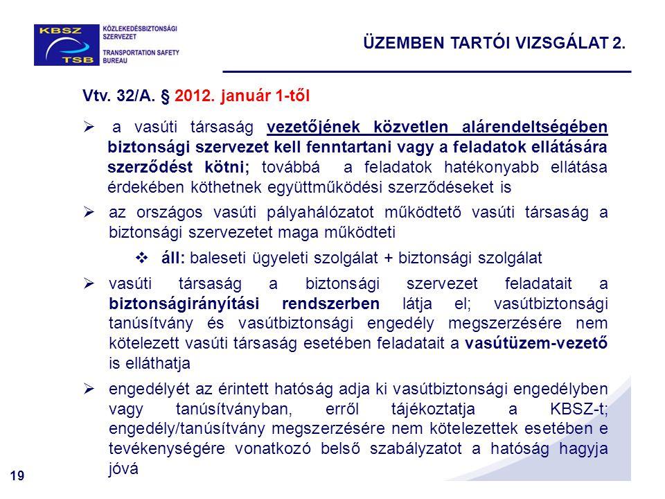 19 Vtv. 32/A. § 2012. január 1-től  a vasúti társaság vezetőjének közvetlen alárendeltségében biztonsági szervezet kell fenntartani vagy a feladatok