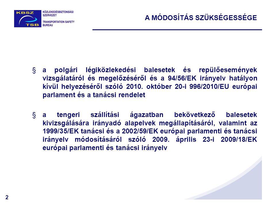 2 A MÓDOSÍTÁS SZÜKSÉGESSÉGE §a polgári légiközlekedési balesetek és repülőesemények vizsgálatáról és megelőzéséről és a 94/56/EK irányelv hatályon kív