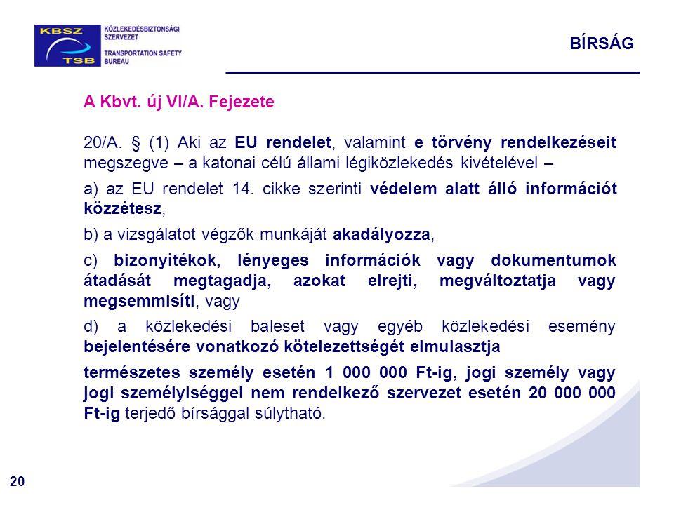 20 A Kbvt. új VI/A. Fejezete 20/A. § (1) Aki az EU rendelet, valamint e törvény rendelkezéseit megszegve – a katonai célú állami légiközlekedés kivéte