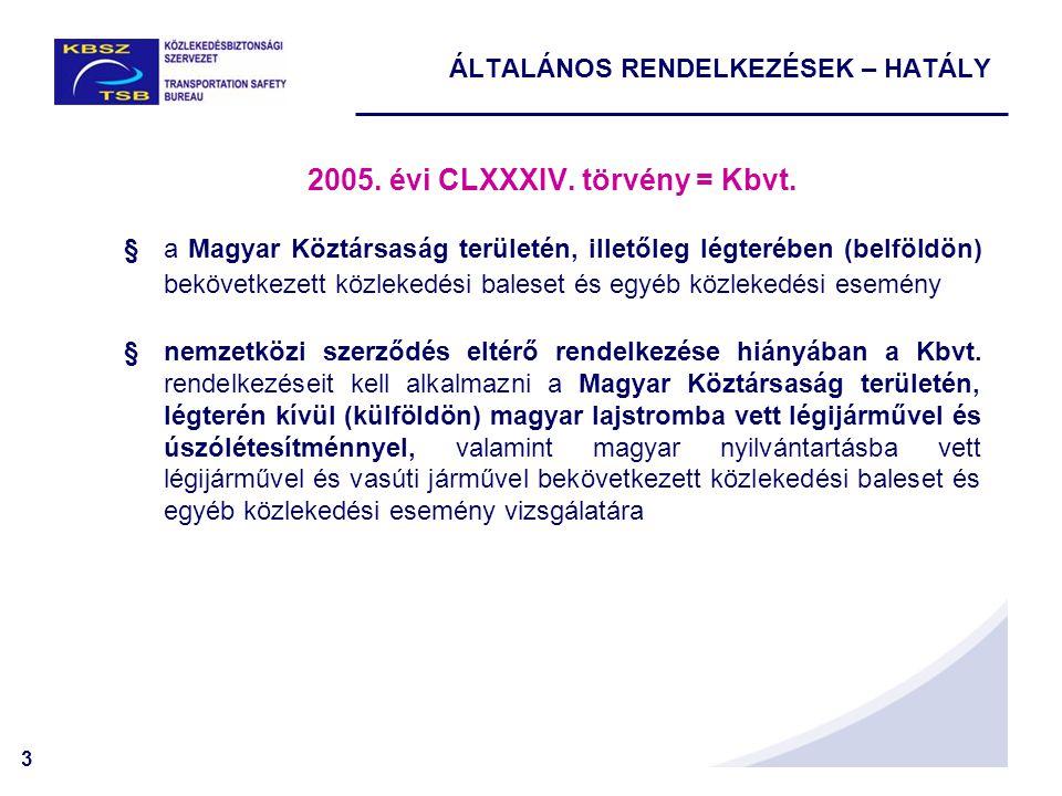 3 2005. évi CLXXXIV. törvény = Kbvt. §a Magyar Köztársaság területén, illetőleg légterében (belföldön) bekövetkezett közlekedési baleset és egyéb közl