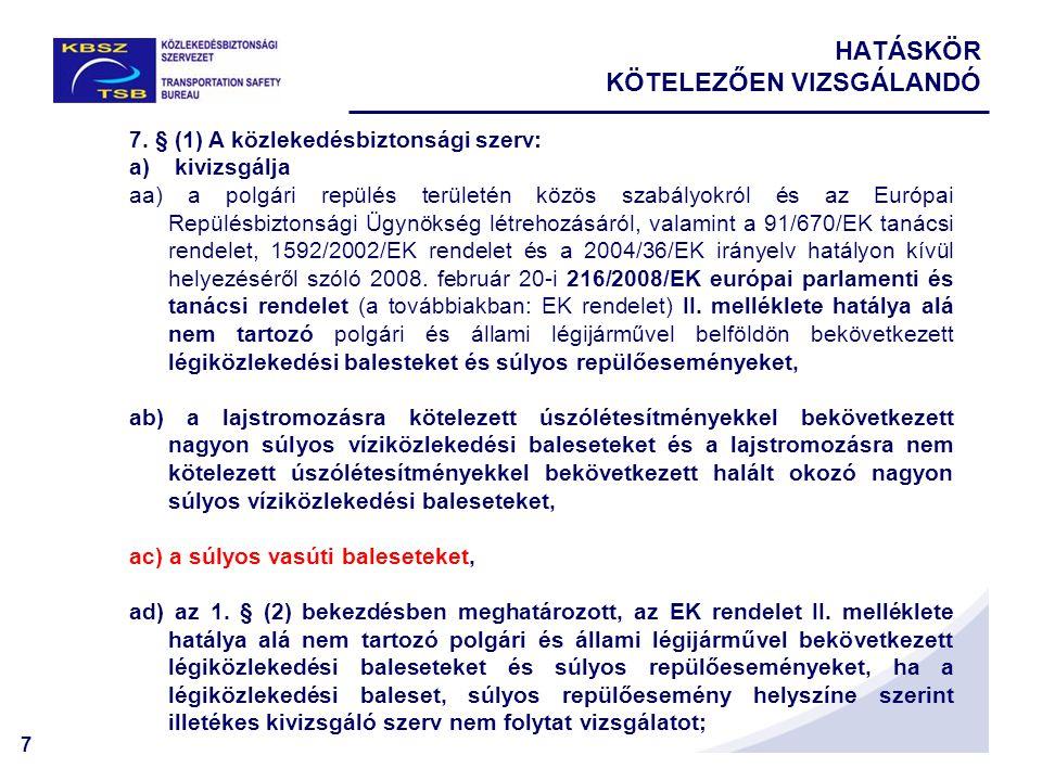 7 HATÁSKÖR KÖTELEZŐEN VIZSGÁLANDÓ 7. § (1) A közlekedésbiztonsági szerv: a) kivizsgálja aa) a polgári repülés területén közös szabályokról és az Európ