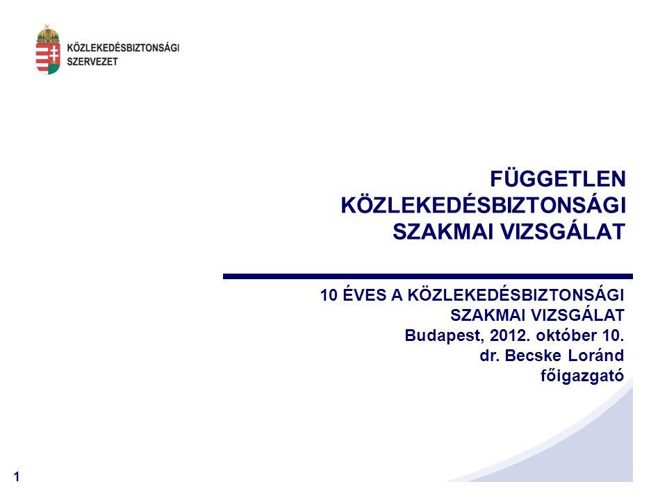 1 FÜGGETLEN KÖZLEKEDÉSBIZTONSÁGI SZAKMAI VIZSGÁLAT 10 ÉVES A KÖZLEKEDÉSBIZTONSÁGI SZAKMAI VIZSGÁLAT Budapest, 2012. október 10. dr. Becske Loránd főig