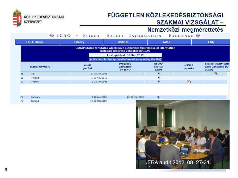 9 FÜGGETLEN KÖZLEKEDÉSBIZTONSÁGI SZAKMAI VIZSGÁLAT – Nemzetközi megmérettetés ERA audit 2012. 08. 27-31.