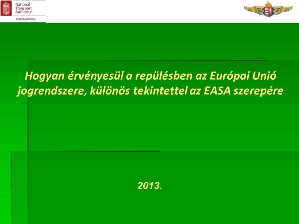 Hogyan érvényesül a repülésben az Európai Unió jogrendszere, különös tekintettel az EASA szerepére 2013.