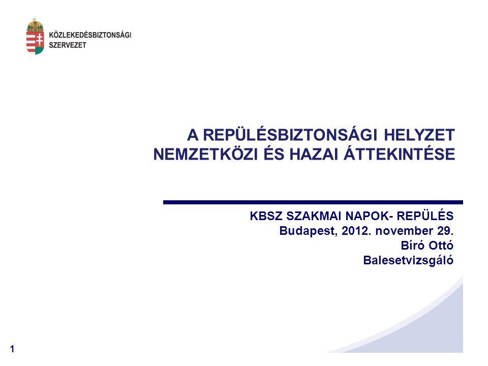 1 A REPÜLÉSBIZTONSÁGI HELYZET NEMZETKÖZI ÉS HAZAI ÁTTEKINTÉSE KBSZ SZAKMAI NAPOK- REPÜLÉS Budapest, 2012.