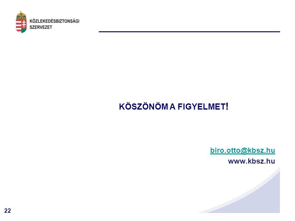 22 KÖSZÖNÖM A FIGYELMET ! biro.otto@kbsz.hu www.kbsz.hu
