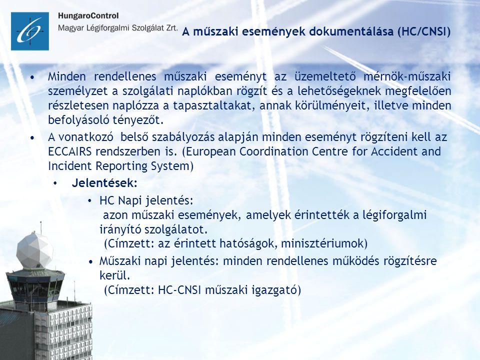 A műszaki események dokumentálása (HC/CNSI) Minden rendellenes műszaki eseményt az üzemeltető mérnök-műszaki személyzet a szolgálati naplókban rögzít és a lehetőségeknek megfelelően részletesen naplózza a tapasztaltakat, annak körülményeit, illetve minden befolyásoló tényezőt.