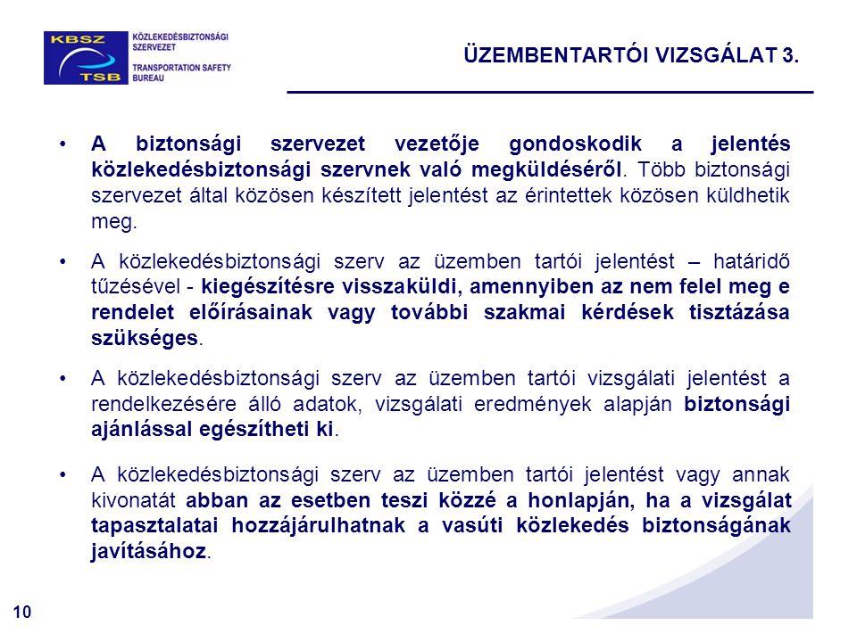 10 A biztonsági szervezet vezetője gondoskodik a jelentés közlekedésbiztonsági szervnek való megküldéséről.