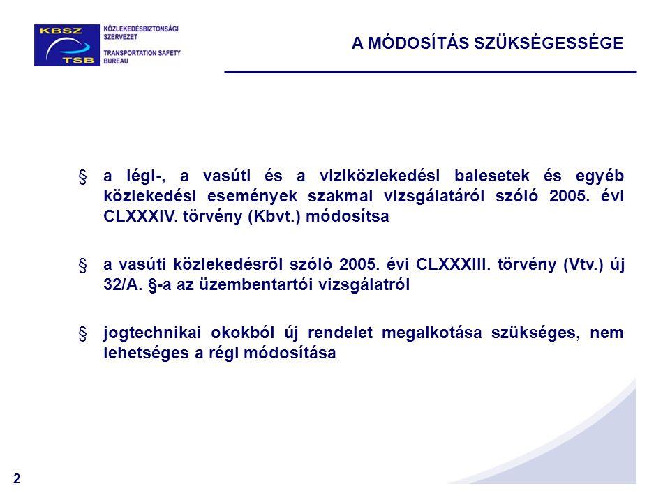 2 A MÓDOSÍTÁS SZÜKSÉGESSÉGE §a légi-, a vasúti és a viziközlekedési balesetek és egyéb közlekedési események szakmai vizsgálatáról szóló 2005.