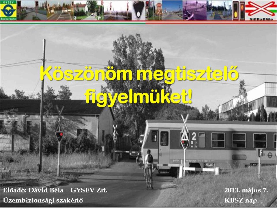 Köszönöm megtisztel ő figyelmüket.Előadó: Dávid Béla – GYSEV Zrt.2013.