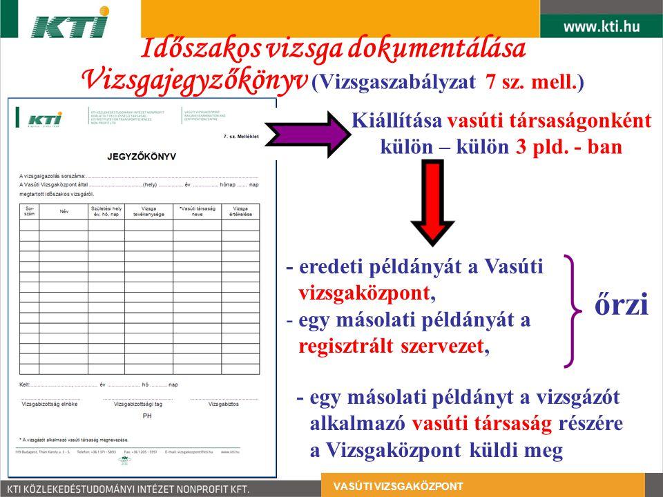 Időszakos vizsga dokumentálása Vizsgajegyzőkönyv (Vizsgaszabályzat 7 sz. mell.) - eredeti példányát a Vasúti vizsgaközpont, -egy másolati példányát a