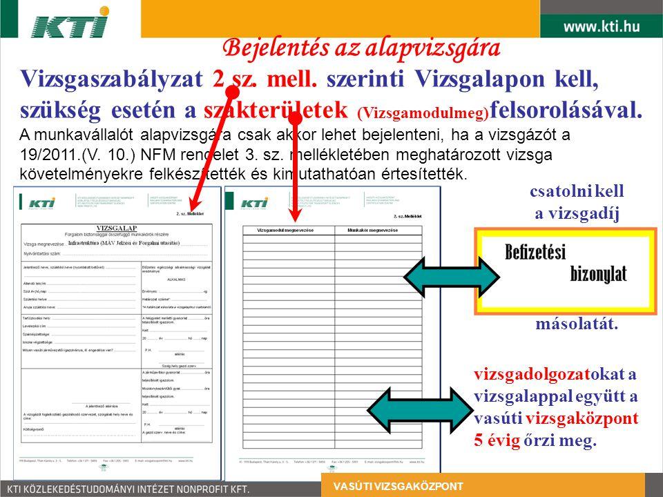Vizsgaszabályzat 2 sz. mell. szerinti Vizsgalapon kell, szükség esetén a szakterületek (Vizsgamodulmeg) felsorolásával. A munkavállalót alapvizsgára c
