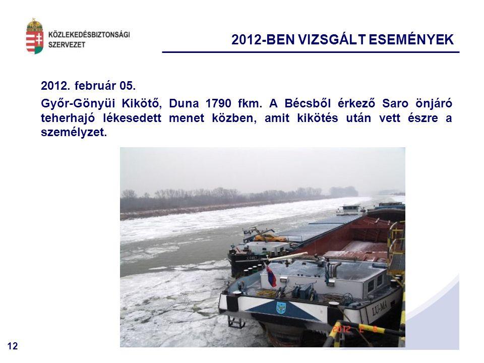 12 2012. február 05. Győr-Gönyüi Kikötő, Duna 1790 fkm. A Bécsből érkező Saro önjáró teherhajó lékesedett menet közben, amit kikötés után vett észre a