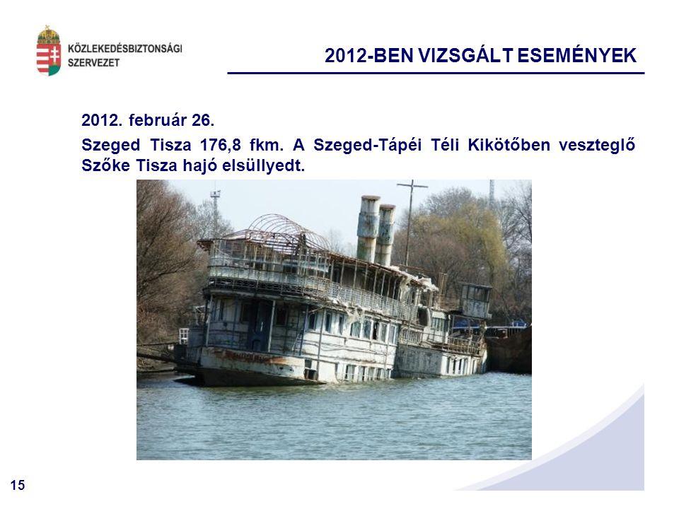 15 2012. február 26. Szeged Tisza 176,8 fkm. A Szeged-Tápéi Téli Kikötőben veszteglő Szőke Tisza hajó elsüllyedt. 2012-BEN VIZSGÁLT ESEMÉNYEK