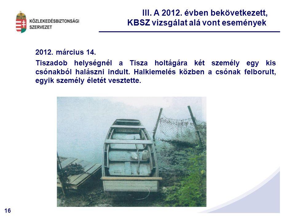 16 2012. március 14. Tiszadob helységnél a Tisza holtágára két személy egy kis csónakból halászni indult. Halkiemelés közben a csónak felborult, egyik