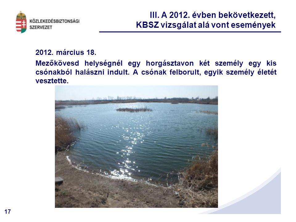 17 2012. március 18. Mezőkövesd helységnél egy horgásztavon két személy egy kis csónakból halászni indult. A csónak felborult, egyik személy életét ve