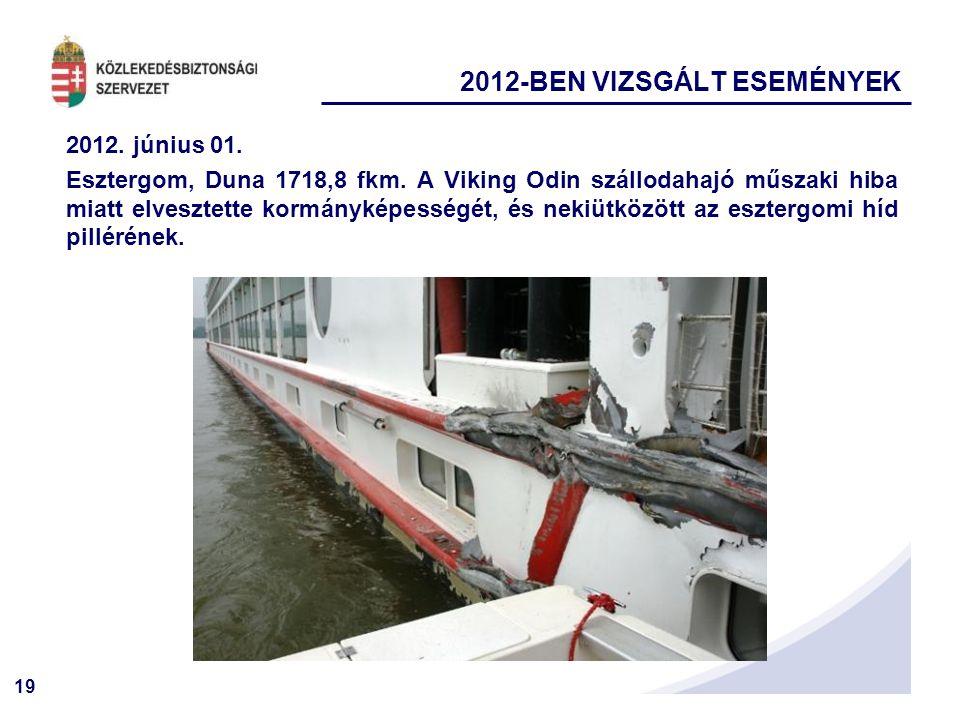 19 2012. június 01. Esztergom, Duna 1718,8 fkm. A Viking Odin szállodahajó műszaki hiba miatt elvesztette kormányképességét, és nekiütközött az eszter
