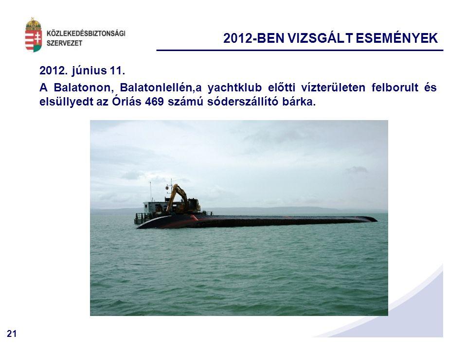 21 2012. június 11. A Balatonon, Balatonlellén,a yachtklub előtti vízterületen felborult és elsüllyedt az Óriás 469 számú sóderszállító bárka. 2012-BE