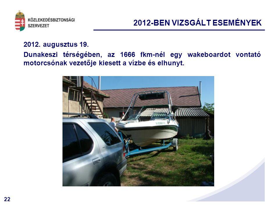 22 2012. augusztus 19. Dunakeszi térségében, az 1666 fkm-nél egy wakeboardot vontató motorcsónak vezetője kiesett a vízbe és elhunyt. 2012-BEN VIZSGÁL