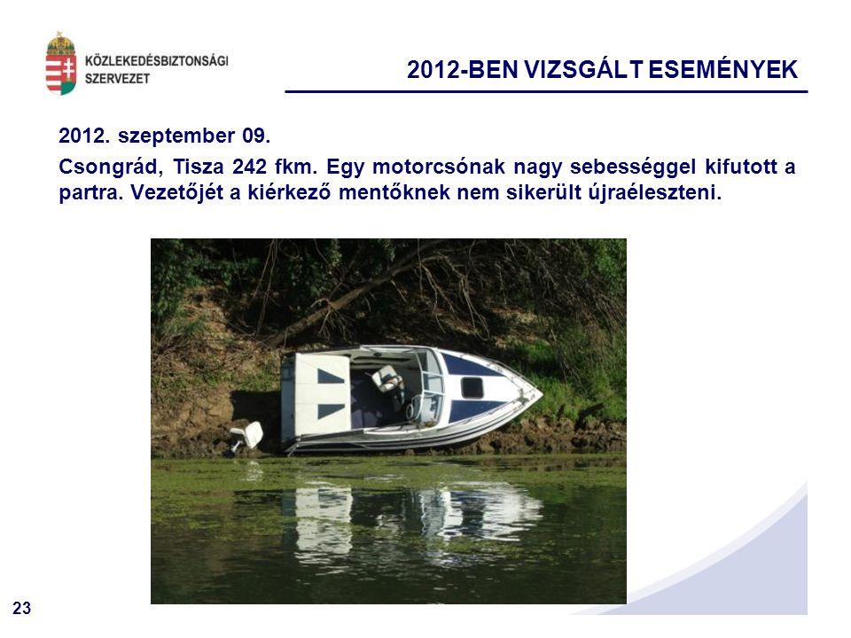 23 2012. szeptember 09. Csongrád, Tisza 242 fkm. Egy motorcsónak nagy sebességgel kifutott a partra. Vezetőjét a kiérkező mentőknek nem sikerült újraé