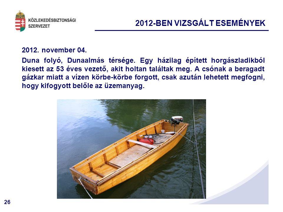 26 2012. november 04. Duna folyó, Dunaalmás térsége. Egy házilag épített horgászladikból kiesett az 53 éves vezető, akit holtan találtak meg. A csónak