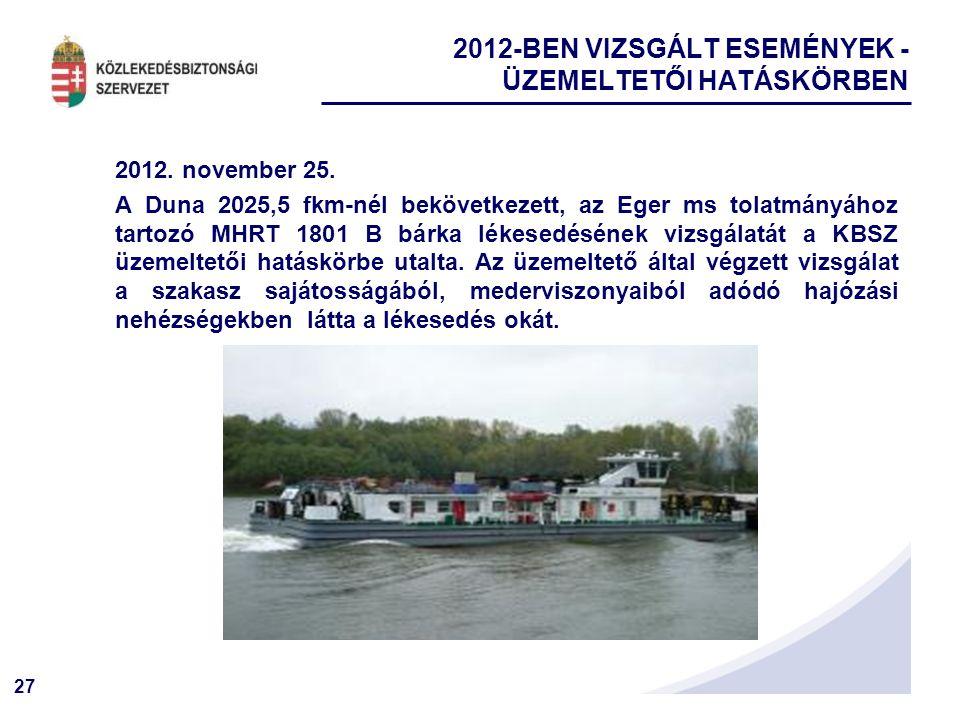 27 2012. november 25. A Duna 2025,5 fkm-nél bekövetkezett, az Eger ms tolatmányához tartozó MHRT 1801 B bárka lékesedésének vizsgálatát a KBSZ üzemelt