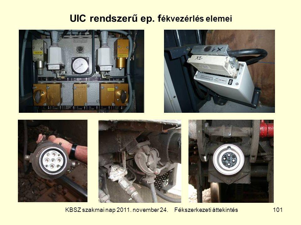 KBSZ szakmai nap 2011. november 24. Fékszerkezeti áttekintés 101 UIC rendszerű ep. f ékvezérlés elemei