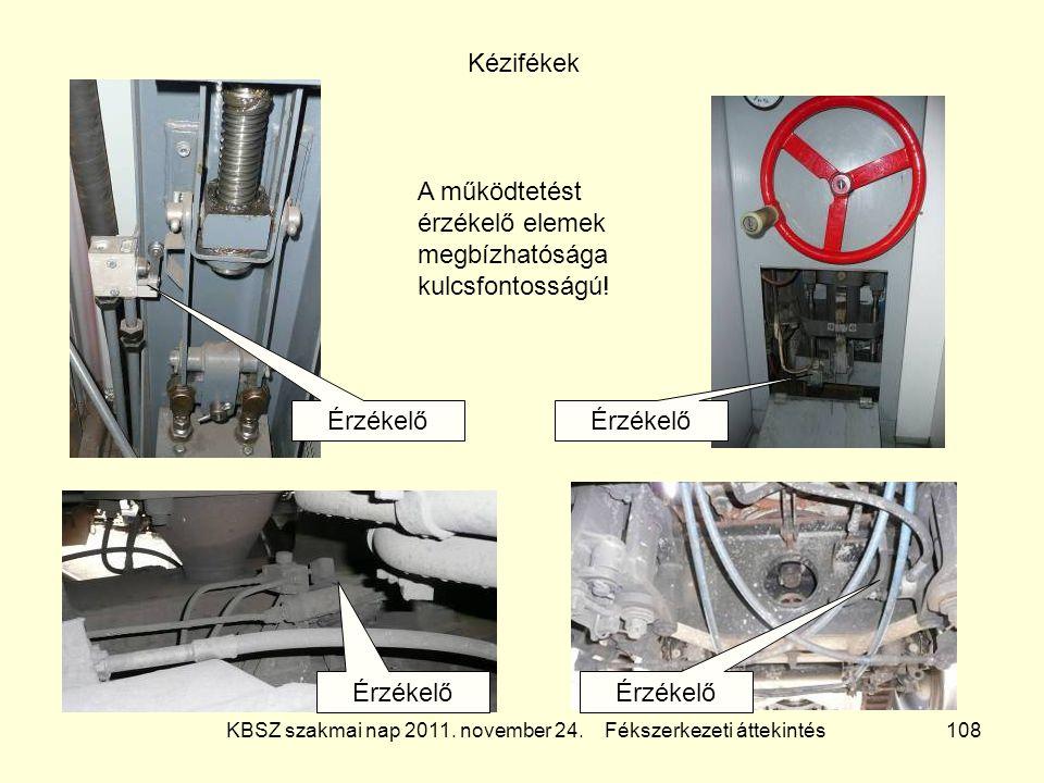 KBSZ szakmai nap 2011. november 24. Fékszerkezeti áttekintés 108 Kézifékek Érzékelő A működtetést érzékelő elemek megbízhatósága kulcsfontosságú!