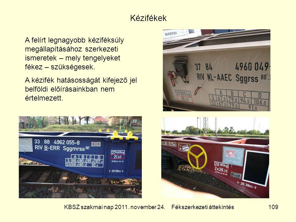 KBSZ szakmai nap 2011. november 24. Fékszerkezeti áttekintés 109 Kézifékek A felírt legnagyobb kéziféksúly megállapításához szerkezeti ismeretek – mel